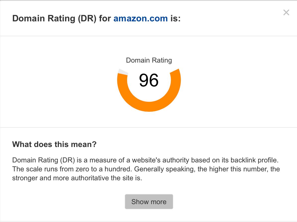 score autorité de domaine pour Amazon