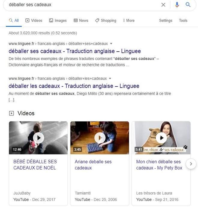 Vidéo recherche universelle Google