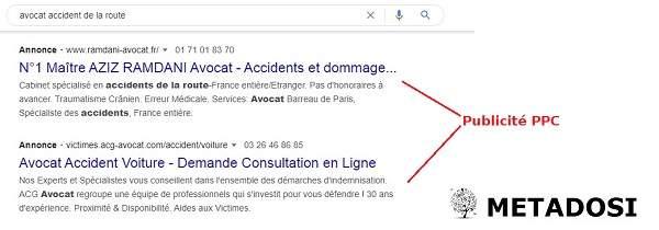 Recherche d'annonces PPC sur Google pour la recherche d'avocat d'accident de la route