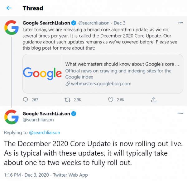 Principales mises à jour de l'algorithme de recherche de Google