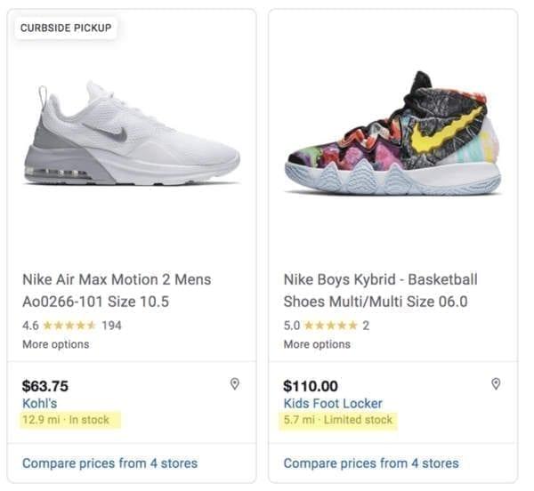 résultats google shopping achat local de chaussure