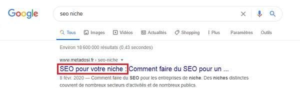 Référencement de SEO pour niche SERP de Google