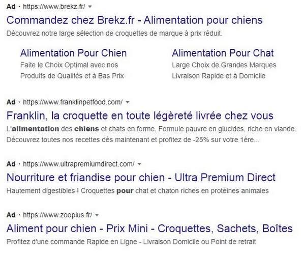 Annonces PPC pour les aliments pour chiens dans la recherche Google
