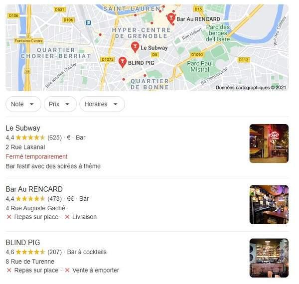 Exemple de pack local Google pour dominer le référencement local