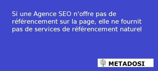Une agence SEO doit proposer des services d'optimisation de SEO on Page