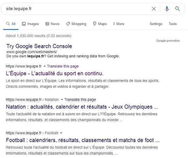Recherche de site l'équipe sur Google