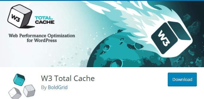 Page du plugin W3 Total Cache sur WordPress