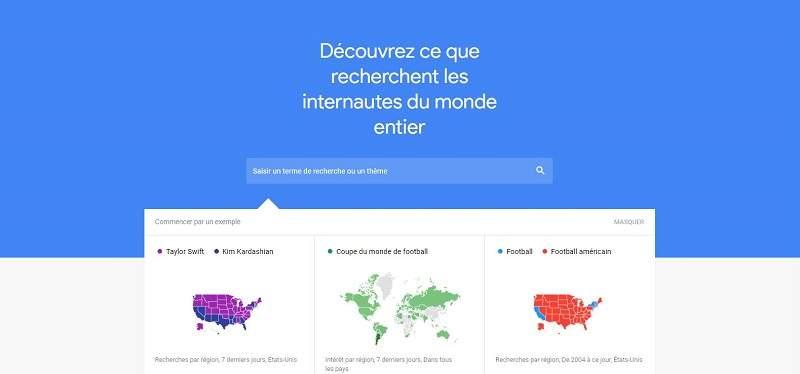 Page d'accueil de Google Trends