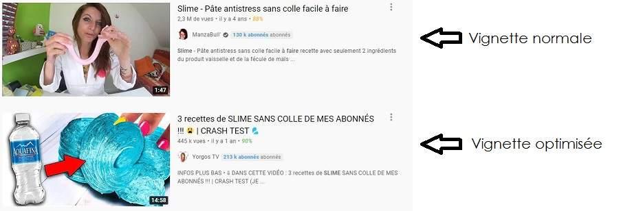 Un exemple de vignettes vidéo sur YouTube